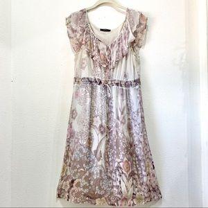 ESPRIT Silk Dress Flirty Pearl Gray Floral 10